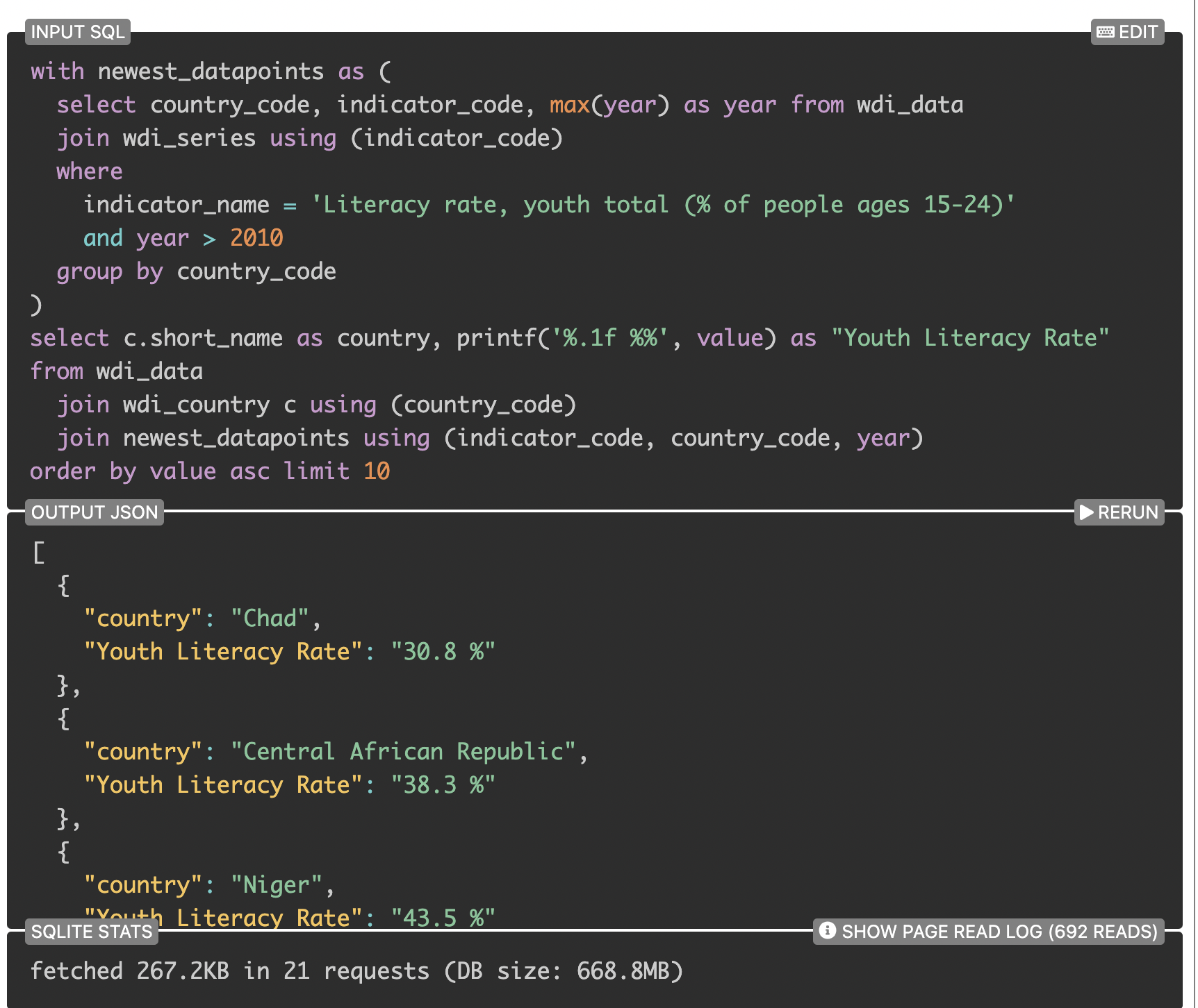 SQLite query